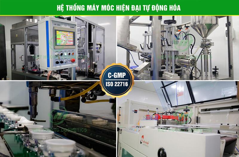 Hệ thống máy móc hiện đại tiêu chuẩn GMP