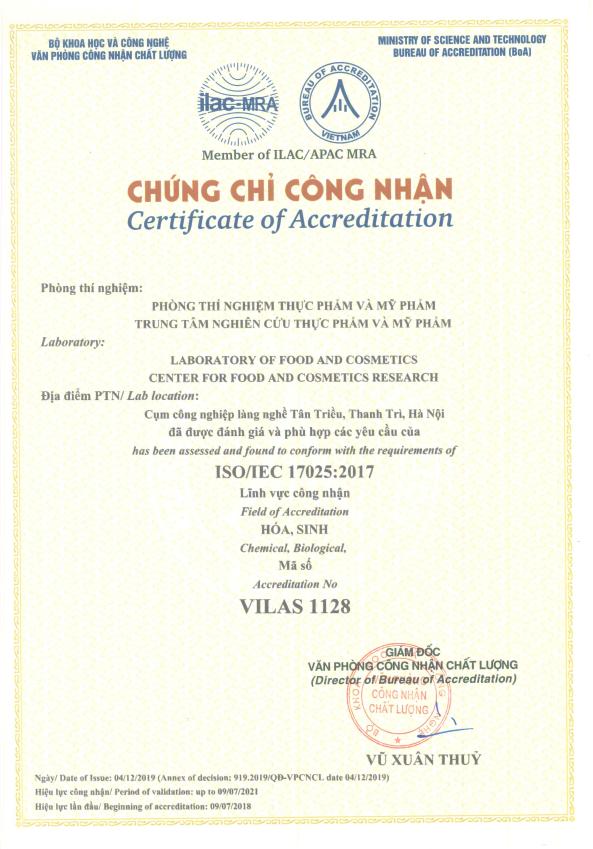 Chứng chỉ công nhận ISO/IEC 17025
