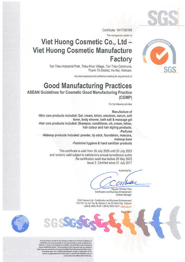 Giấy chứng nhận nhà máy gia công mỹ phẩm đạt tiêu chuẩn cGMP