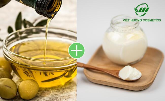 Sữa chua kết hợp dầu ô liu làm mặt nạ dưỡng da